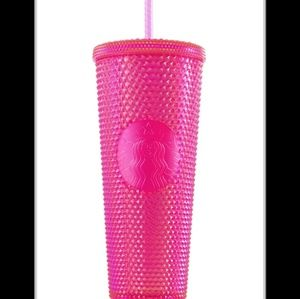 Starbucks studded tumbler Neon Pink Holiday Limite